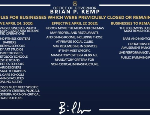 Update on Businesses opening from Governor Brian Kemp